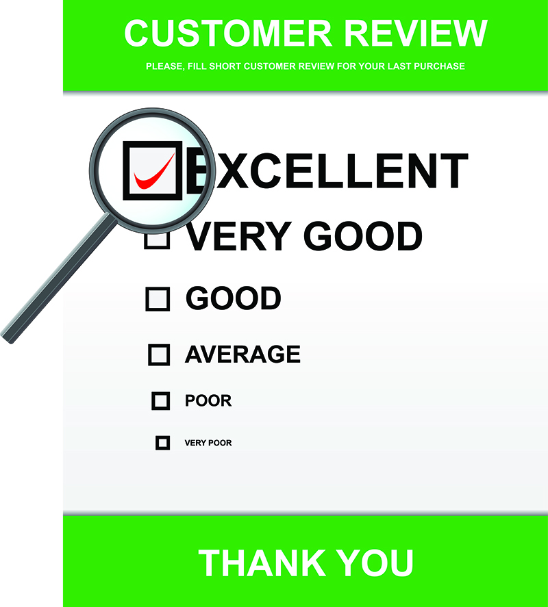Customer review with glass